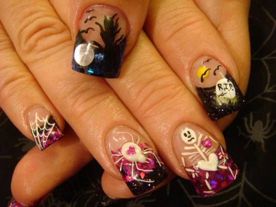40 Scary 3d Halloween Nail Art Designs Nail Design Ideaz Nails