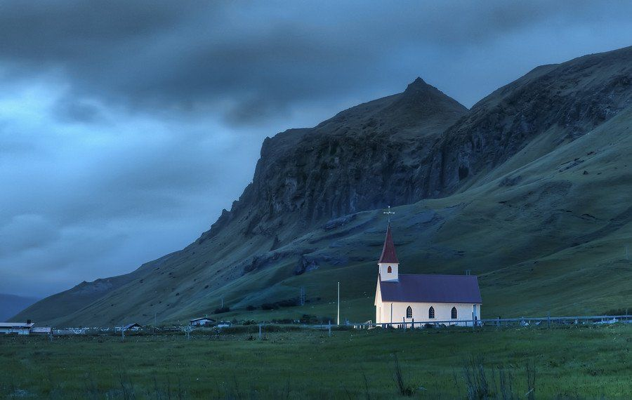 Lonely night in #Iceland. #Wik, #church. photo from #treyratcliff at www.StuckInCustom... - all images Creative Commons Noncommercial