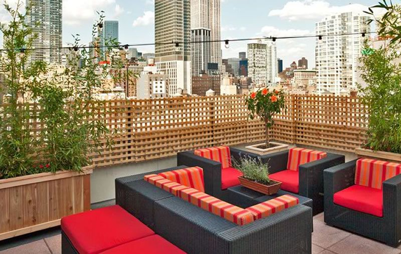 Fashionable Luxury Hospitality Interior Design Hilton Fashion 26 Hotel NYC Rooftop Garden