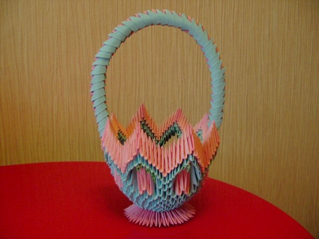 3d Origami Basket With Handle Rh Com Valentine 3D Heart Diagram A Bow