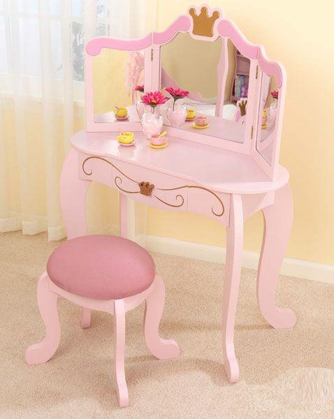 Adorable Princess Vanity Stool Bedroom Vanity Set Kids
