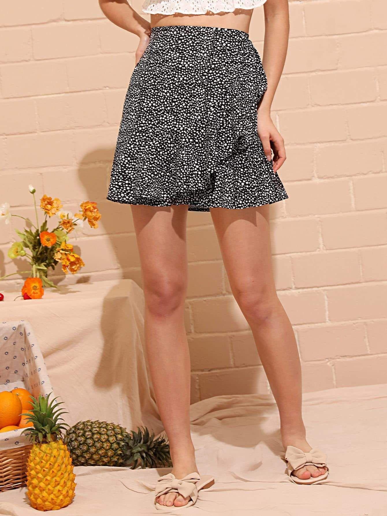 Dalmatian Print Ruffle Trim Skirt