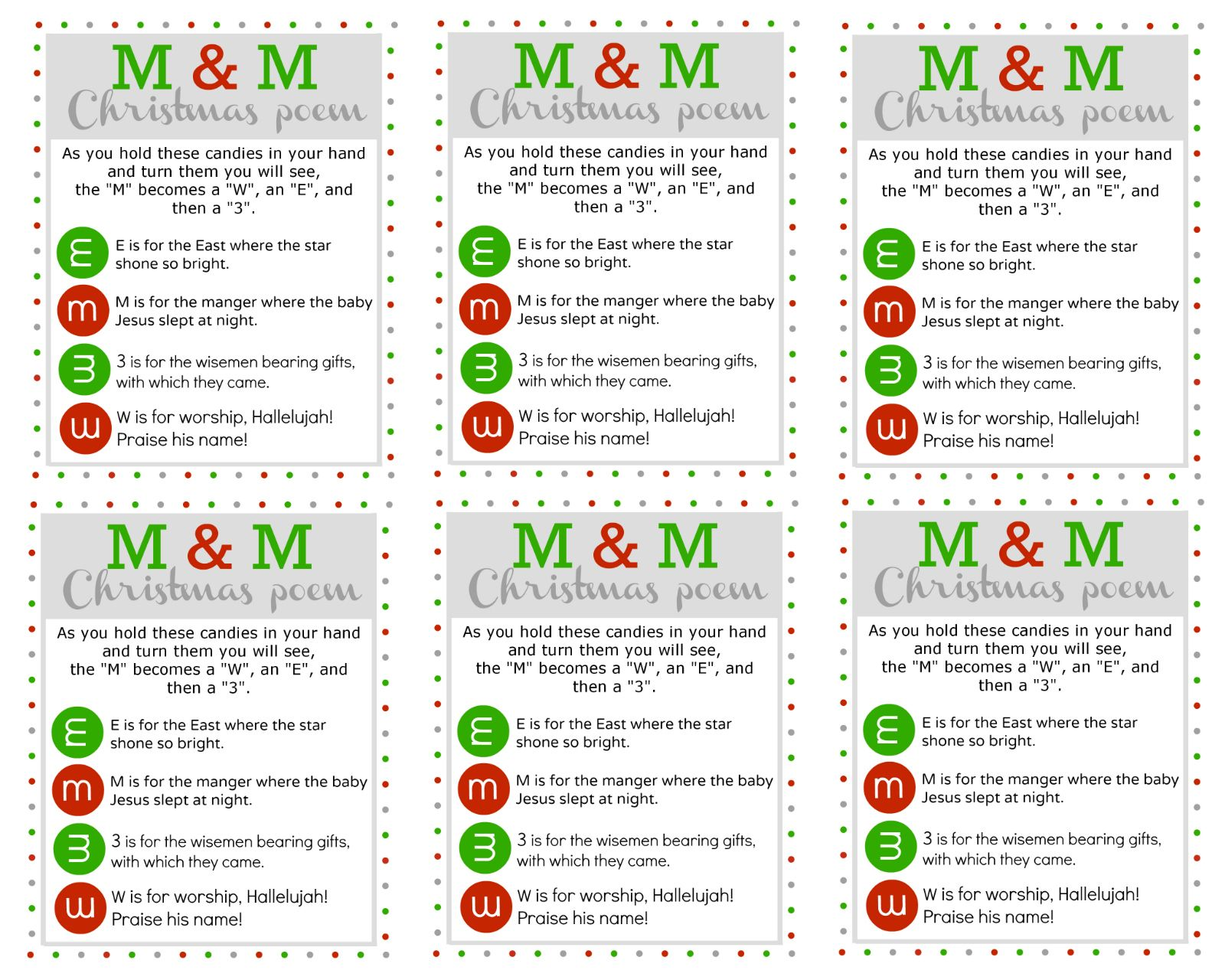 M M Christmas Poem Free Printable U Create Christmas Poems Free Christmas Printables Christmas Favors