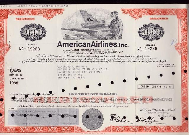 American Airlines Registered Bond 1970