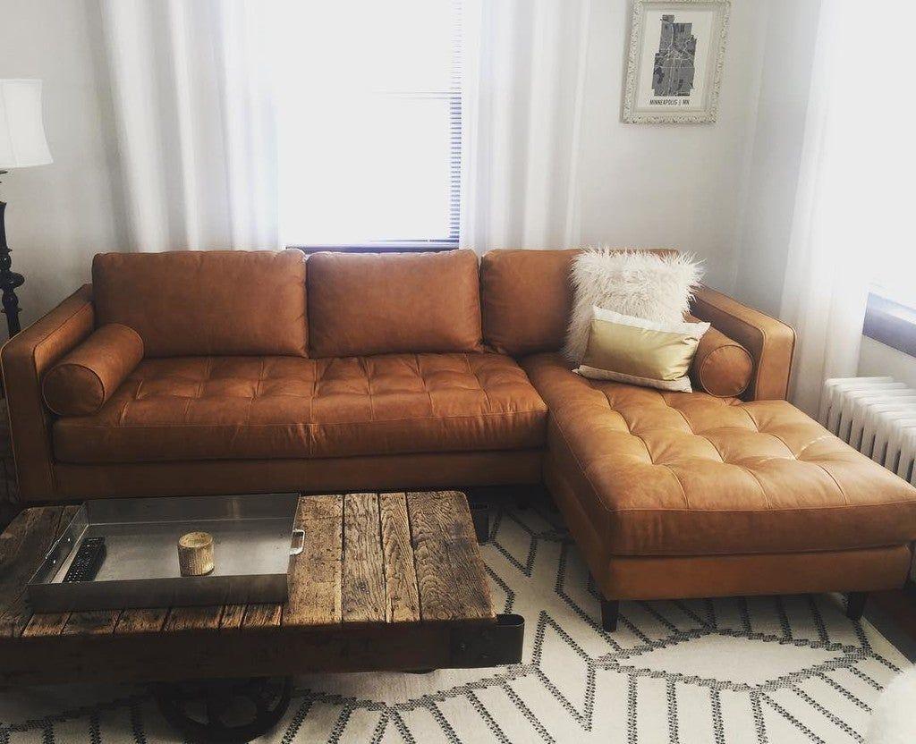 Sven Charme Tan Left Sectional Sofa In 2020 Modern Leather Sectional Sofas Mid Century Sectional Sofa Modern Sofa Sectional