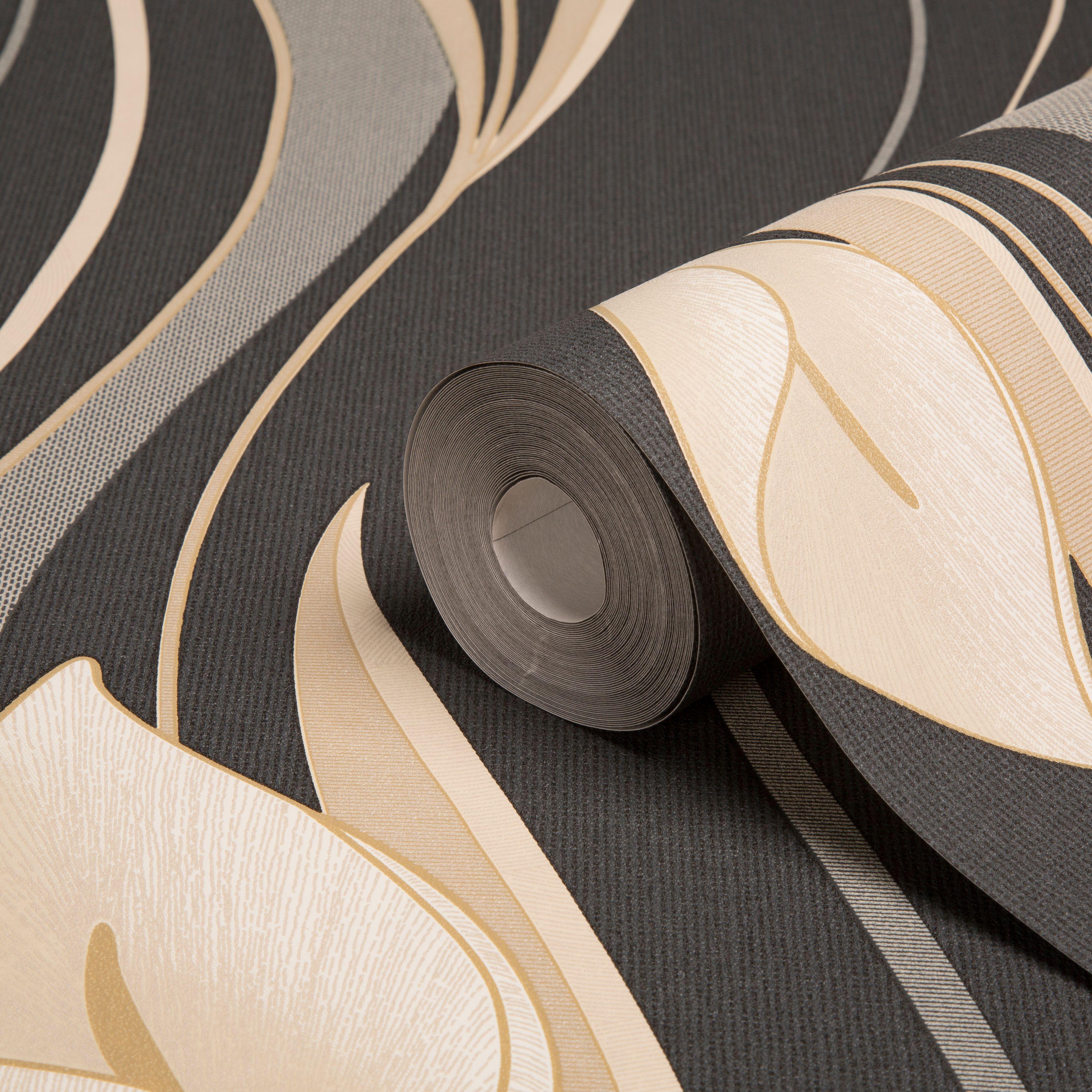 Graham Brown Superfresco Black Cream Floral Wallpaper
