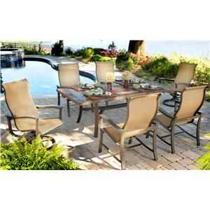 Majorca 7 Piece Outdoor Dining Set With 4 Sling Dining Chairs And 2 Sling  Swivel Rocker