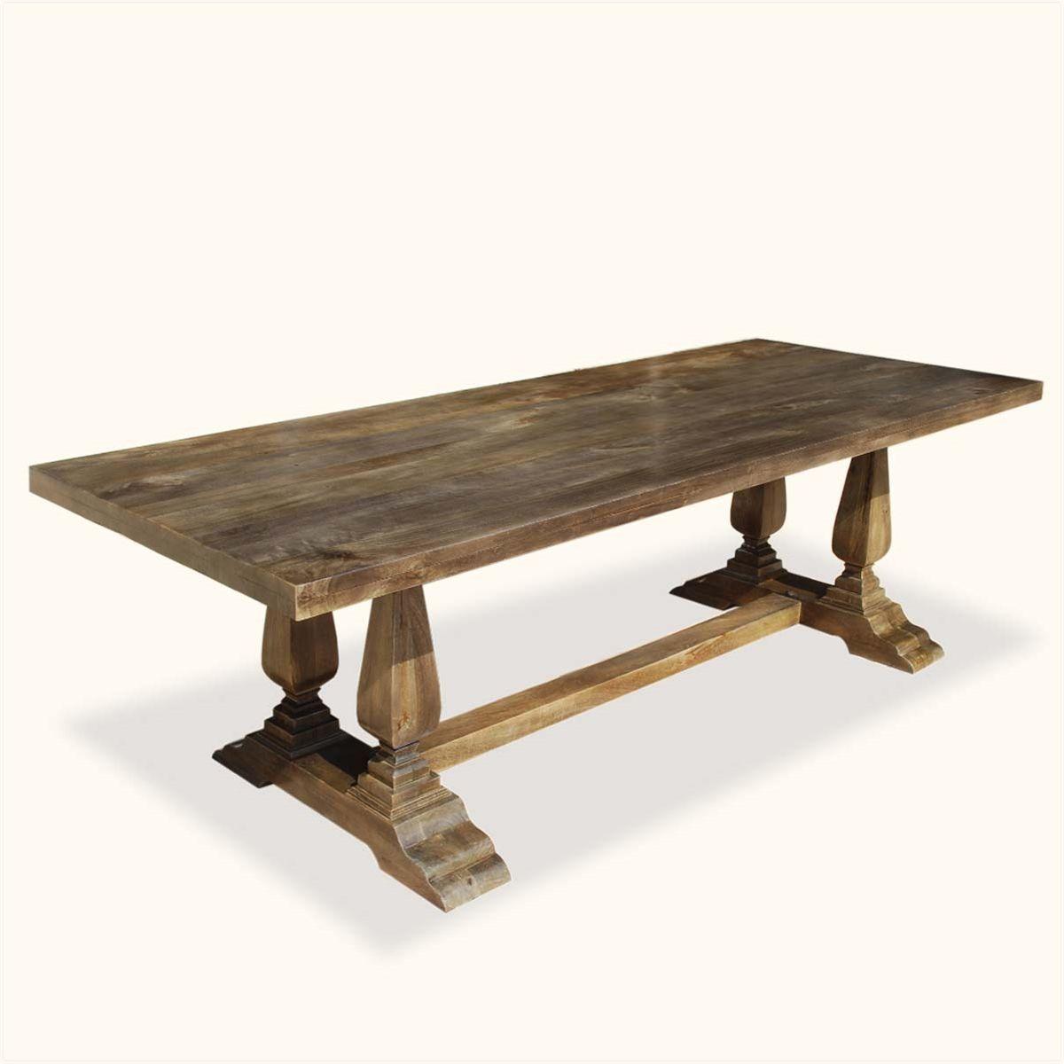 Pelham Rustic 98 Solid Wood Trestle Pedestal Dining Table