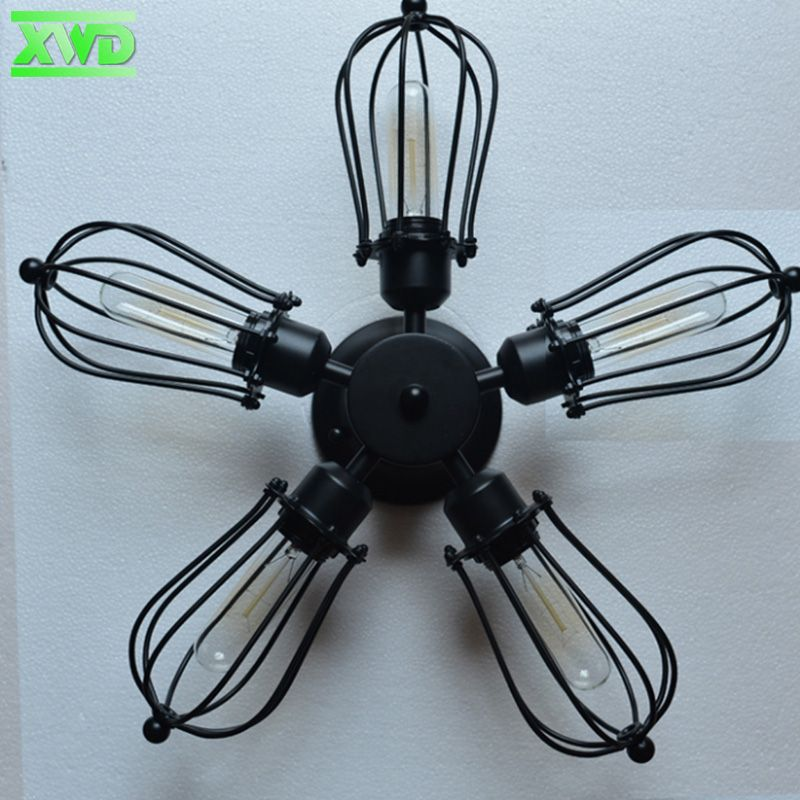Vintage 5 Head Iron Bra Ceiling Lamp E27 Black Lamp Holder 110 240v Coffee House Shop Mall Bookstore Club Living Room Stud Black Lamps Lamp Holder Ceiling Lamp