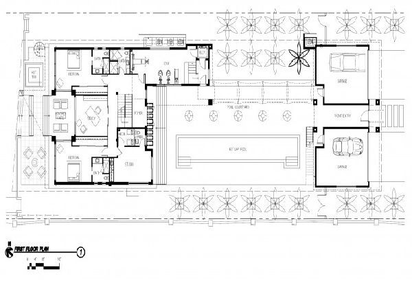 First Floor Plan Picture for International Style Modern Residence