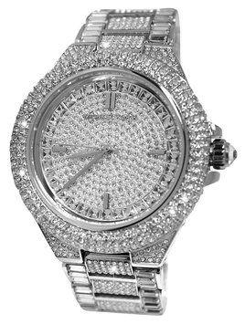 Michael Kors MK BLING GLAM Silver-Tone Pave Glitz Swarovski Crystals  Camille STATEMENT PIECE Watch  364 3f3be646f56e