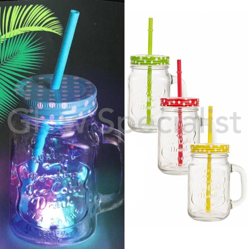 glazen drinkbeker met led verlichting mason jar