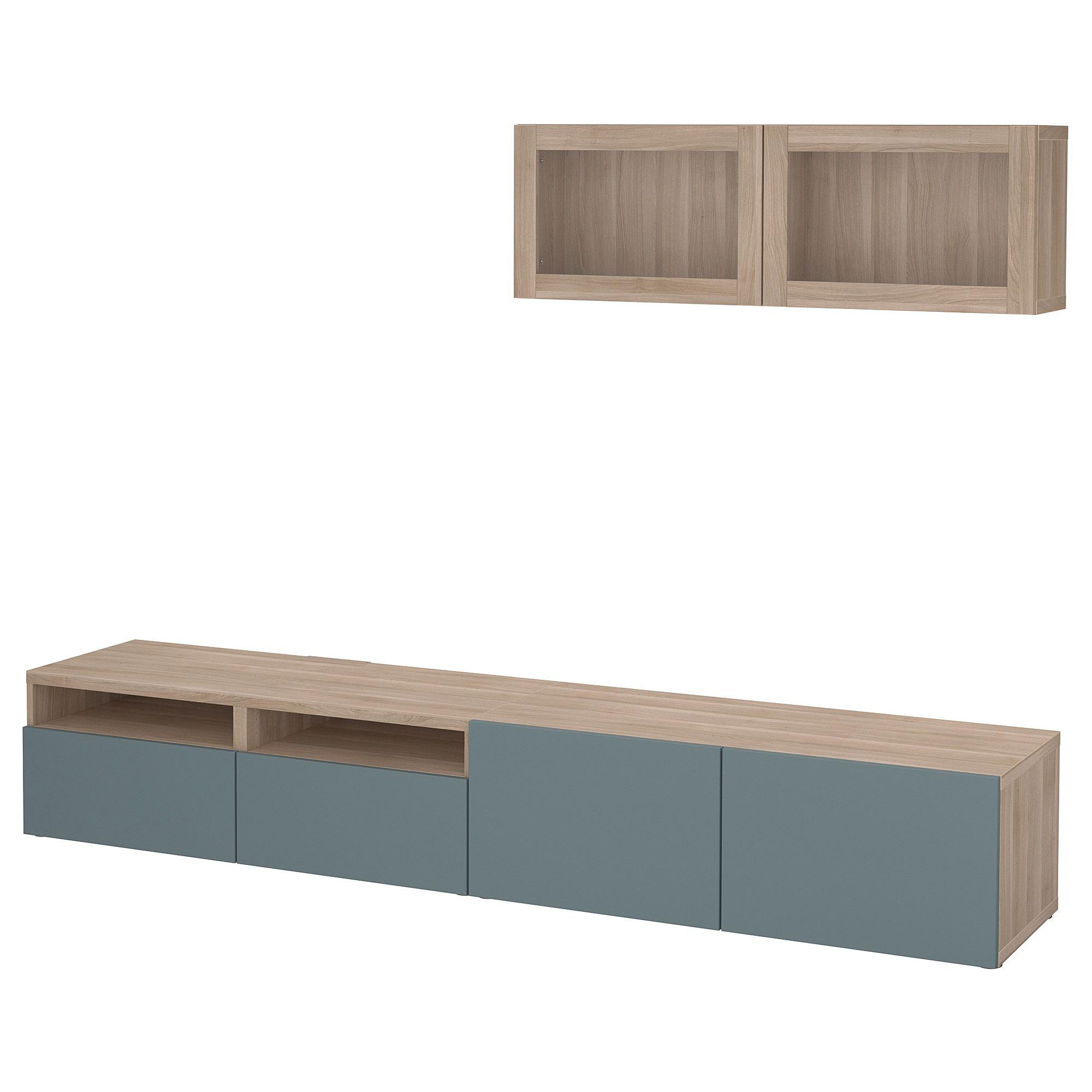 Tv Storage Combination Glass Doors Besta Walnut Effect Light Gray Valviken Gray Turquoise Clear Glass Meuble Tv Meuble Tele Mural Et Ikea