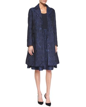 Jacquard A-Line Coat, Spaghetti-Strap Crepe Tank Top & Tuck-Pleated Jacquard Bell Skirt by Co at Neiman Marcus.