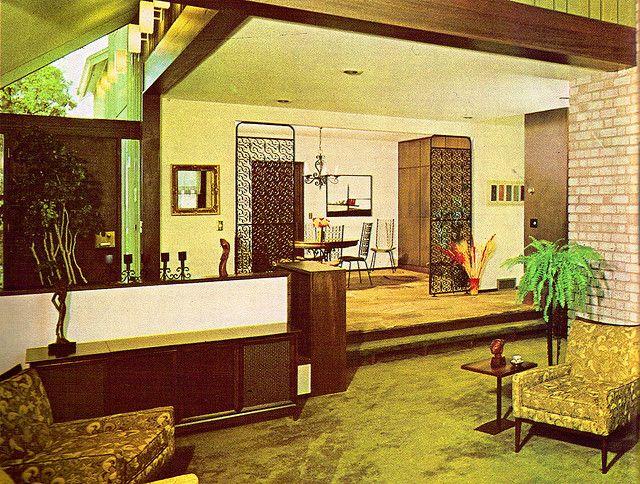 Retro Sunken Living Room Stone Firep - Best site wiring ...