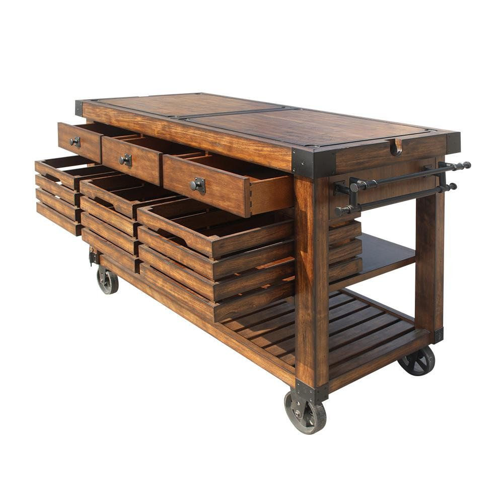 Distressed Rustic Wood Rolling Kitchen Island Cart