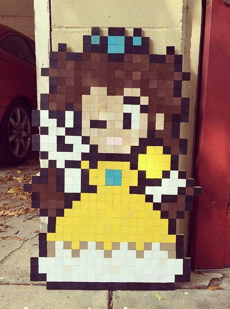 Super Mario Daisy 8-bit Wood Pixel Wall Art   P i x e l ART ...
