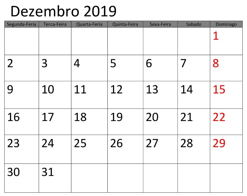 Excel Calendário 2019 Dezembro Imprimir | Calendário ...