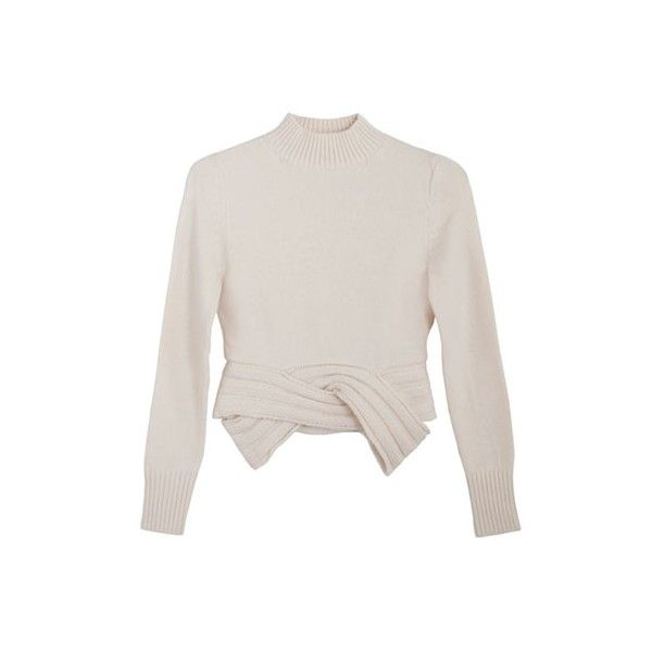 Maryam Nassir Zadeh Cream Martina Mockneck ($473) ❤ liked on Polyvore featuring tops, sweaters, jumper, crop tops, shirts, mock neck sweater, cream sweater, white sleeve shirt, white top and cuff shirts