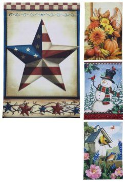 Amazon Com Seasonal Garden Flags Set Of 4 By Collections Etc