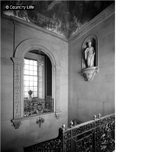 The head of the west stair at Chatsworth House. Pub Orig CL 02/05/1968
