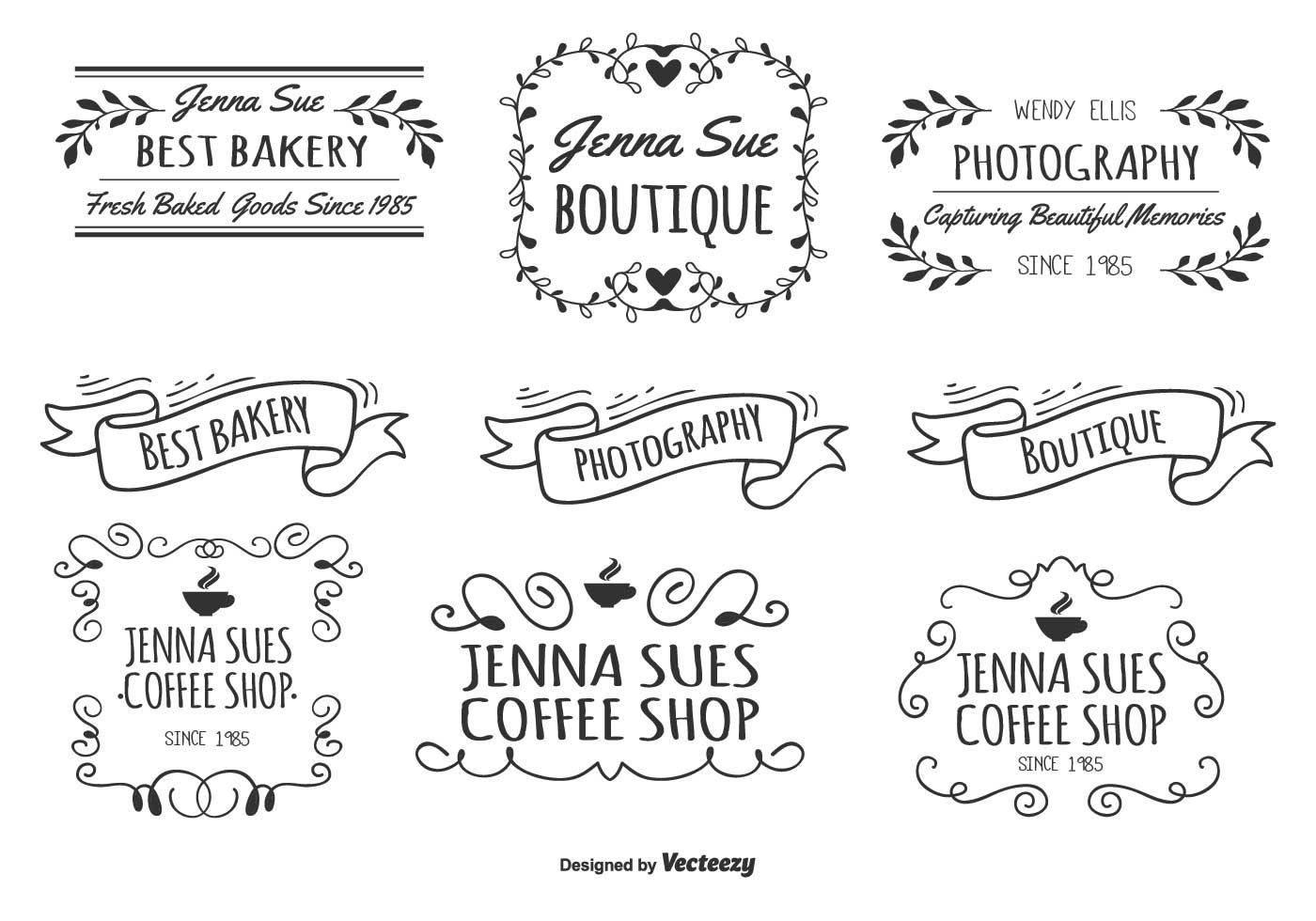 Here is an awesome set of assorted hand drawn style labels