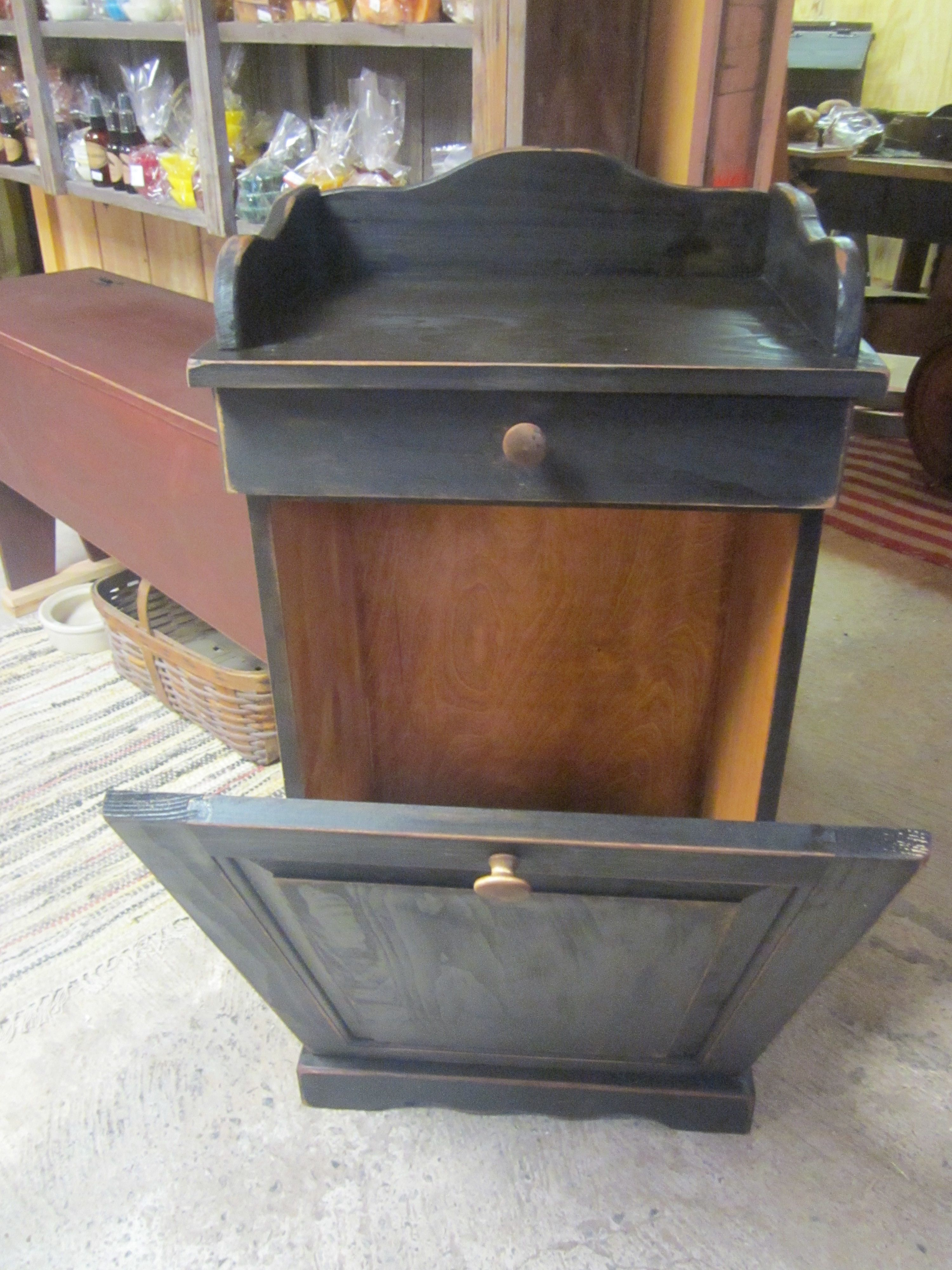 Black Primitive Garbage Can Holder With Drawer Wooden