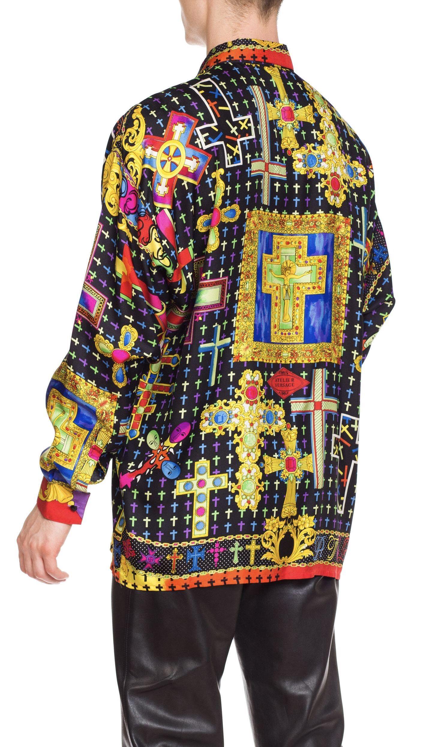 GIANNI VERSACE VINTAGE MENS Byzantium Crosses Silk Shirt