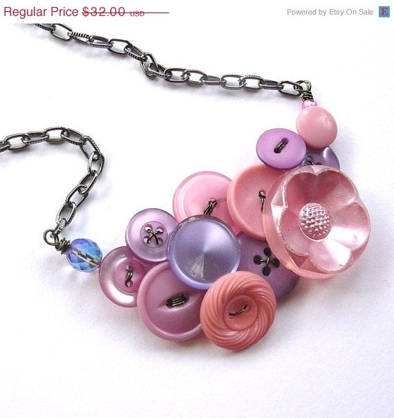 Lavender Pink Flower Vintage Button Statement Necklace by buttonsoupjewelry, on etsy