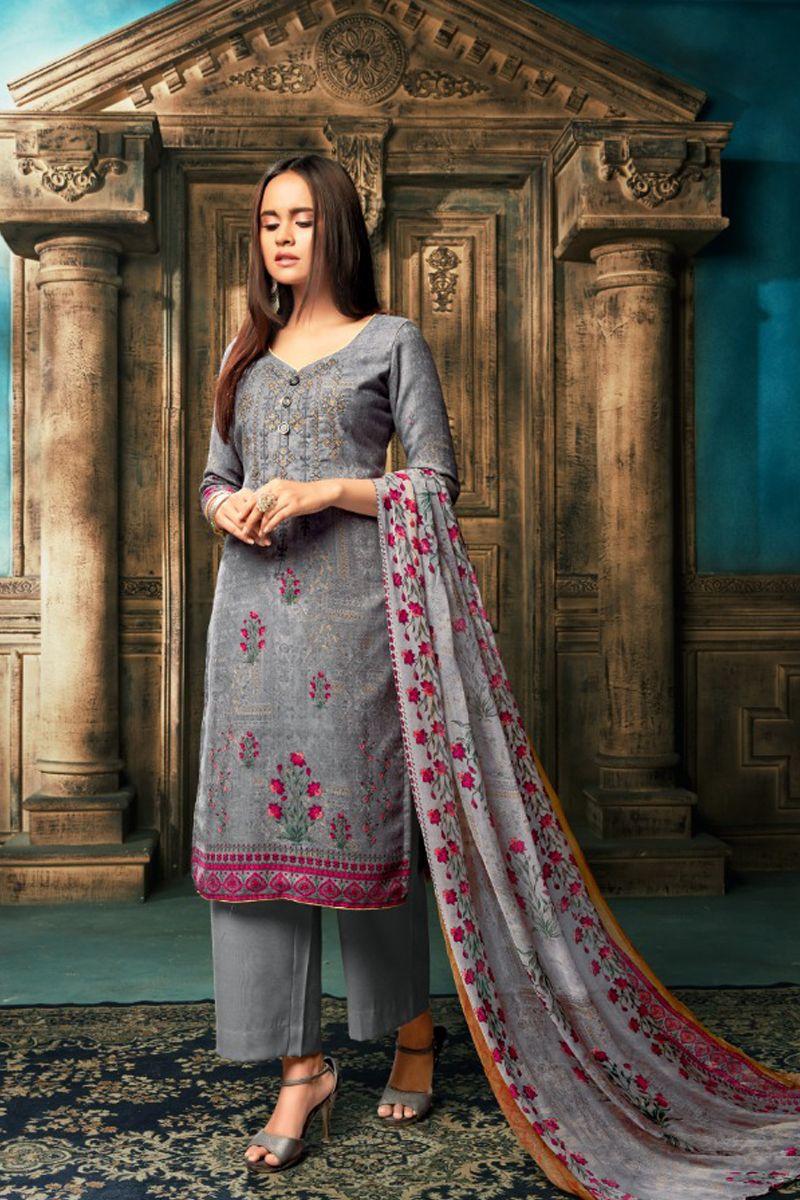 d9e90515e1 Grey-Printed-Office-Wear-Pashmina-Quater-Sleeves-Salwar-Suit-76005 ...