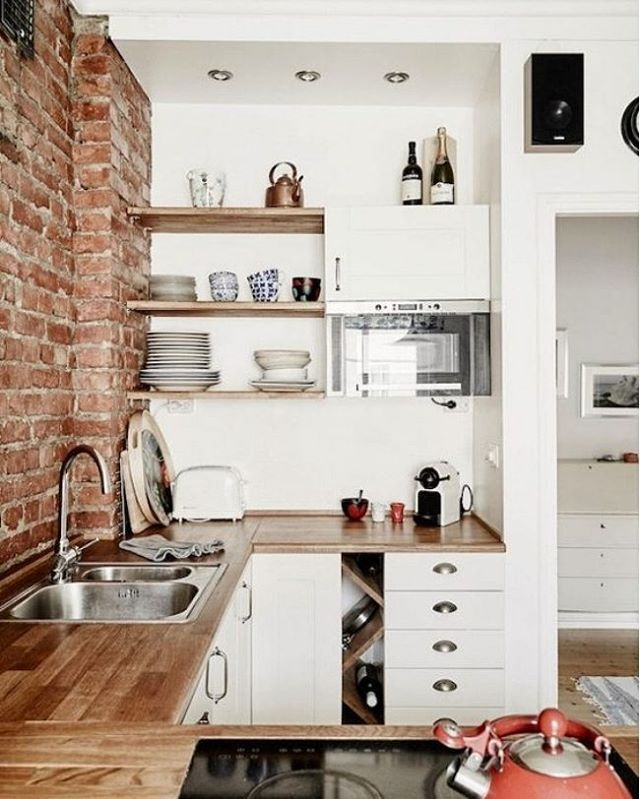 Small Space Done Perfectly Via Domainehome Scandinavian Brickwall Minimalist Simplicity Kitchen Design Small Kitchen Cabinet Remodel Small Kitchen Decor