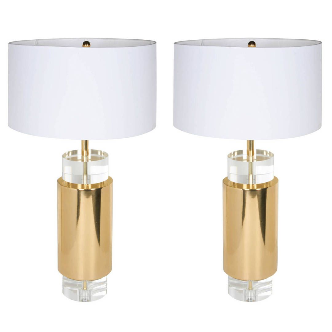 Pair of american mid century brass and lucite table lamps in the pair of american mid century brass and lucite table lamps in the manner of charles geotapseo Images