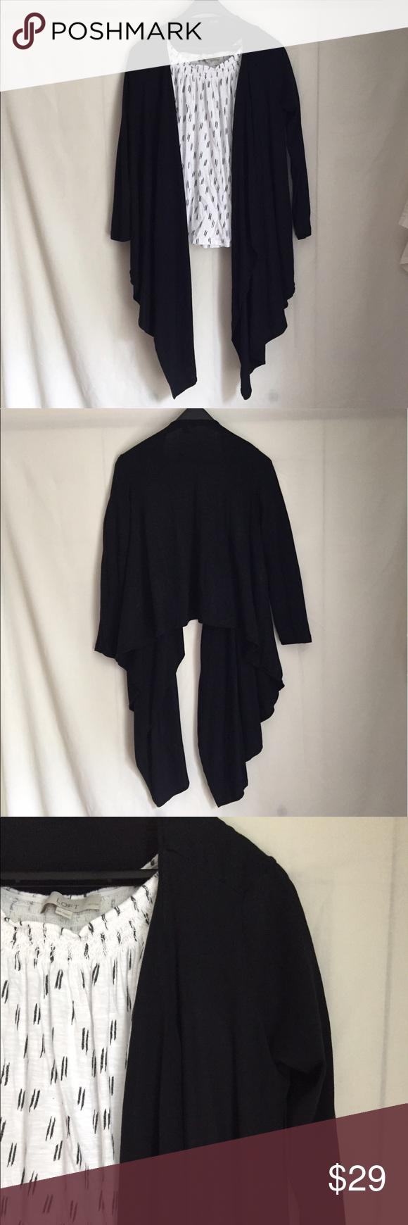 Alfani Black Draped Asymmetrical Cardigan