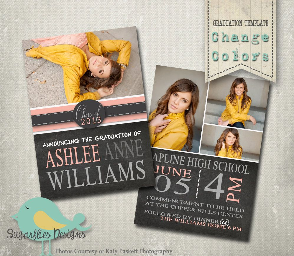Graduation Announcement Templates - Senior Graduation 19. $8.00, via ...