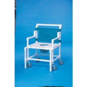 """Bariatric Shower Commode with 24"""" Between Arms Mesh Backrest Color: Wineberry by Innovative Products Unlimited. $520.37. SC550 P-WIB Mesh Backrest Color: Wineberry Features: -Shower commode.-Convenient push bar.-Flat toilet seat with pail.-Weight capacity: 550 lbs.-24'' Between the arms. Options: -Mesh backrest available in several colors. Dimensions: -5'' Heavy duty casters.-Seat height: 22''.-Dimensions: 41'' H x 28'' W x 31'' D."""