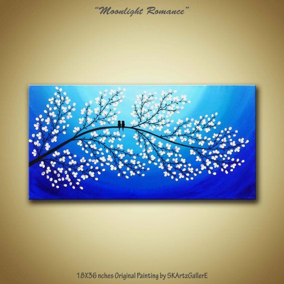 Love birds White Blossom Tree Landscape Original Modern Contemporary Acrylic Painting on Gallery Canvas by SKArtzGallerE