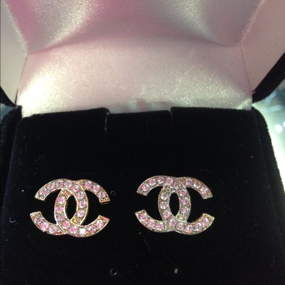 10kt gold Chanel earrings real gold Chanel jewelry Gold and Crystals