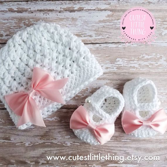 Baby Hat and Booties set, Crochet Baby Girl set, Newborn Set ...