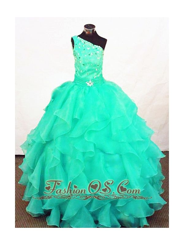 Turquoise Organza Beading Little Girl Pageant Dresses