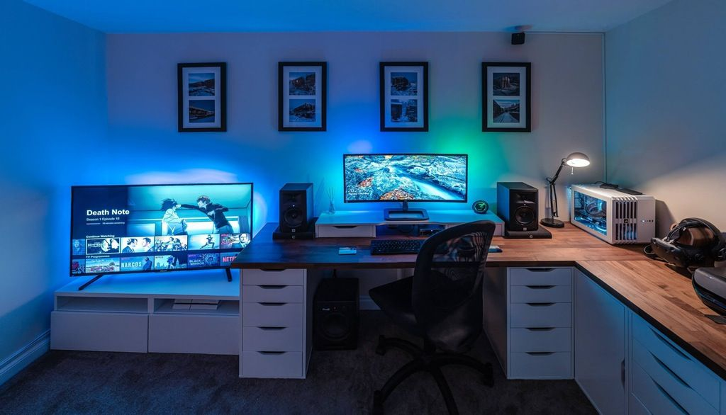 Work Play Chill Battlestations I Love The Blue Hues In The Room Modern Computer Desk Room Setup Gaming Room Setup
