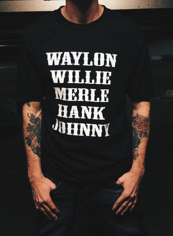 Merle Haggard Tribute Short Sleeve Regular Tees Black Men/'s T-shirt