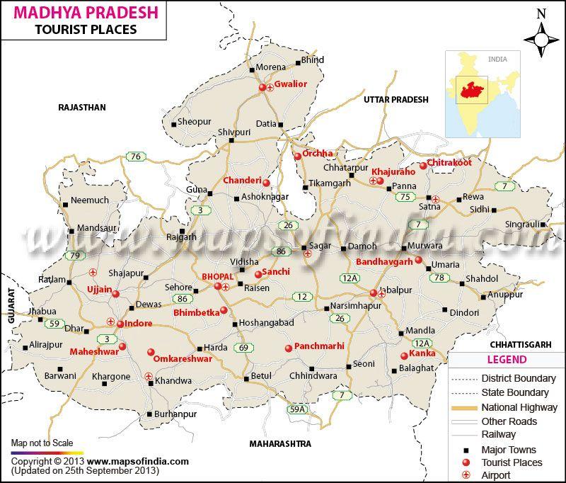 Madhya Pradesh Tourist Map Tourist map, India map