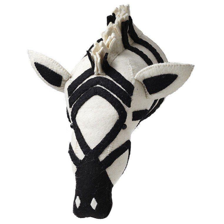 Zebra Felt Animal Head Mount
