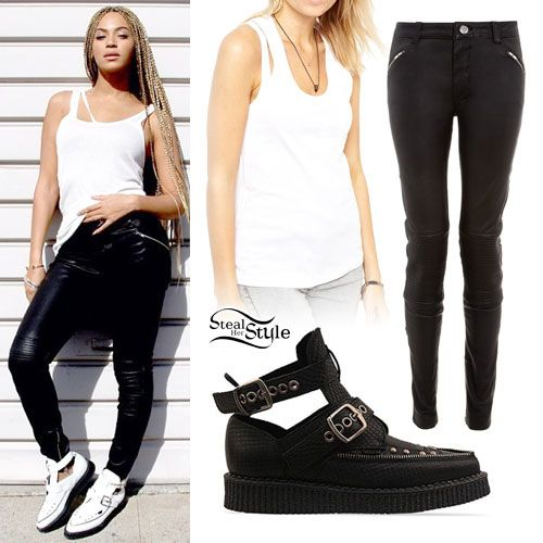 Beyonce: Leather Pants, White Creepers