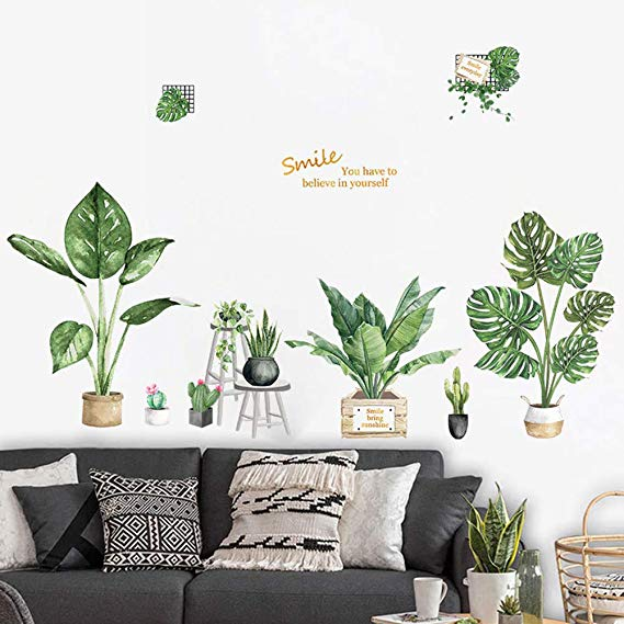 Green Leaves PVC Living Room Bedroom Decor Vinyl Wall Sticker Decals Removable