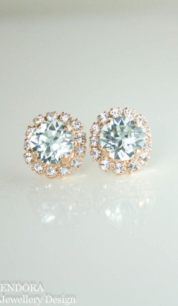 f6a43084457555 Swarovski Light azore crystal rose gold stud earrings
