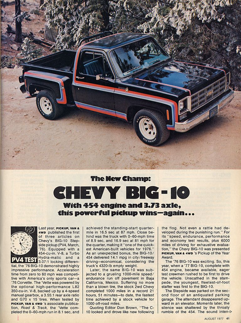 1977 Chevy Big 10 Stepside With 454 Engine Squarebodies