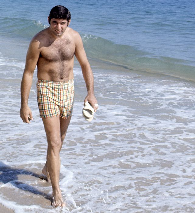 The Gemini with shirtless athletic body on the beach