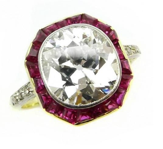 Early 20th Century Single Stone Diamond And Ruby Ring C