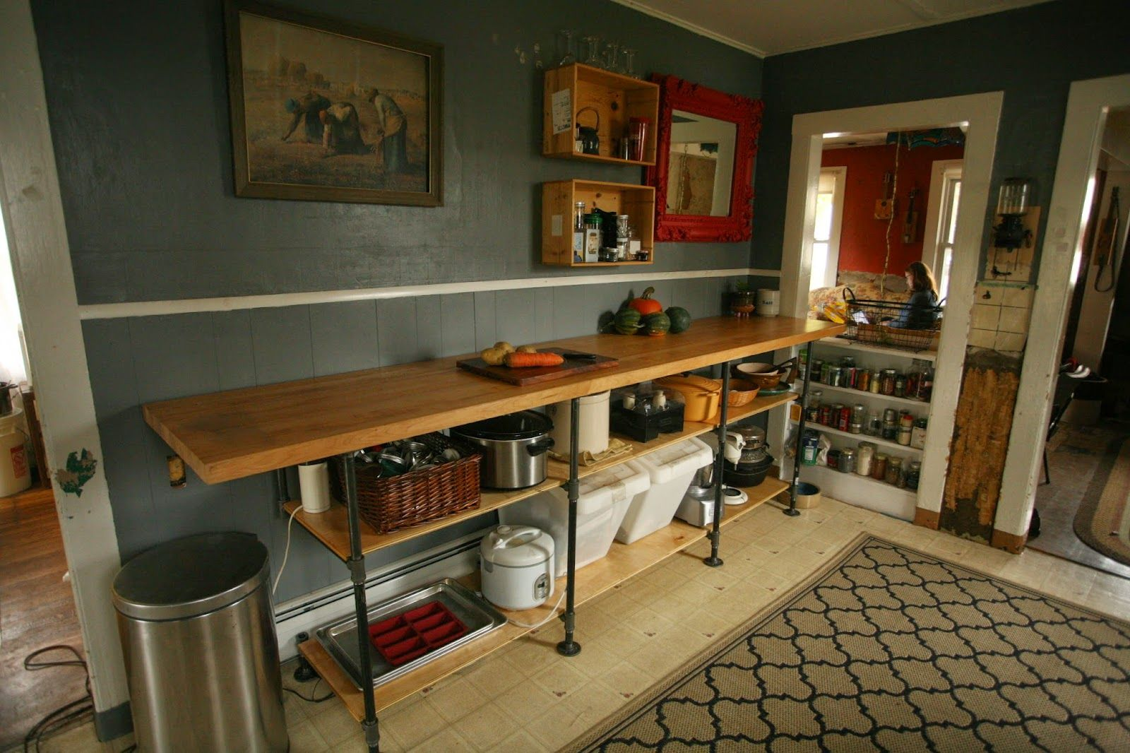 DIY Black Pipe Kitchen Counter with maple counter top. Aka ...